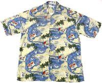 Pierre Cardin Large Shirt Hawaiian Mimosa Cocktails Palm Trees Seagulls Beach
