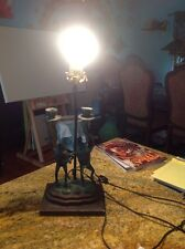 Vintage Estate Table Lamp Frogs Standing On Lillypad