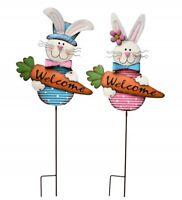 """33""""Metal Easter Bunny Garden Stake Decorative Spring Rabbit Yard Stake Set of 2"""