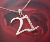 Brand New 925 Sterling Silver & Cubic Zirconia 21 Pendant Necklace - Gift Boxed