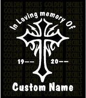 "Personalized "" In Loving Memory Of "" Decal Sticker  Tribal Cross Design"