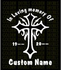 """Personalized """" In Loving Memory Of """" Decal Sticker  Tribal Cross Design"""