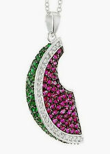 Watermelon Pendant Necklace New .925 Sterling Silver