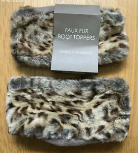 ONE PAIR OF REQUISITE DESERT LEOPARD FAUX FUR BOOT TOPPERS ONE SIZE BRAND NEW