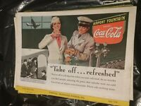 """Coca Cola Print Advertisement 1938 """"Take off refreshed"""" railroad ad on back"""
