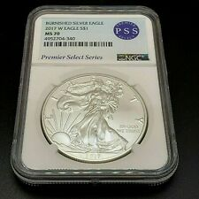 2017 W Burnished Silver Eagle, US Coins. PSS NGC MS-70