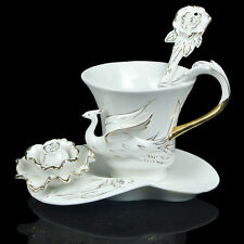 Gold Peony And Bird Coffee Set Tea Set 1Cup 1Saucer 1Spoon Gift Porcelain