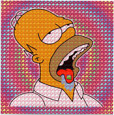 Homer Bicycle Day Donuts BLOTTER ART perforated sheet paper psychedelic art