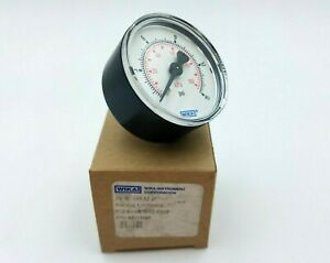 """WIKA 50613308 Air Pressure Gauge 0-15 PSI Type 111.12 2"""" D 1/8"""" Connection Back"""