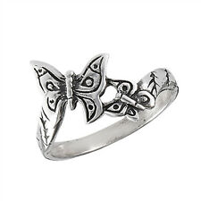 Oxidized Butterfly Wings Beautiful Ring New .925 Sterling Silver Band Sizes 1-8