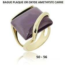 GROSSE BAGUE T50 à 56 OXYDE AMETHYSTE CARRE PLAQUE OR 18K 5 Microns Dolly-Bijoux