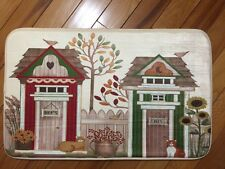 Whimsical Country Outhouse Bath Rug Picket Fence Sunflower Rug Kitten Cat Rug