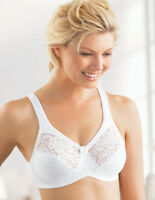 NEW Bra msrp $42 Satin & Lace ~WICKS-U-DRY~ Support 10% SPANDEX White CLEARANCE!