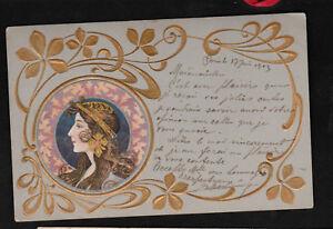 Superbe CPA Art Nouveau 1903 Illustrateur école Mucha gaufrée arabesques dorées