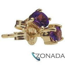 Natural Amethyst 9ct 9k Solid Yellow Gold Stud Earrings 54663/AM