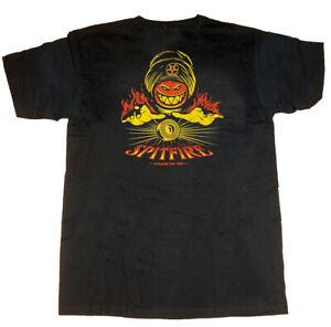 SPITFIRE WHEELS - Skateboard Tee Shirt - Large / Black - Conjure The Fire