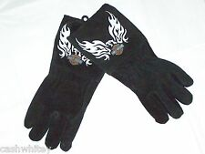 Black Leather HARLEY DAVIDSON Motorcycles ride yard Work Insulated Welder Gloves
