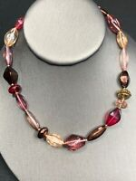 Signed Glass And Crystal Single Strand Necklace Beaded Shades If Pink