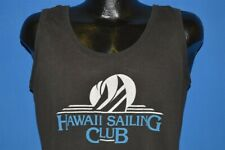 vintage 80s Hawaii Sailing Club Sailboat Tourist Tank Top Black t-shirt Large L