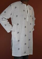 Shirt Tunic Kurta Om Symbol Handmade 100% Soft Cotton Gorgeous White Large