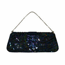Bcbg Max Azria Womens Soft Clutch Sequins Beads Iridescent Blue New Ph047b541