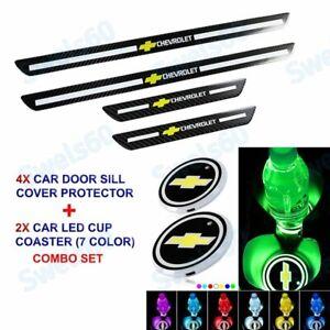 Carbon Fiber Plate Door Sill Scuff Cover Panel Sticker+LED Coaster For Chevrolet