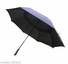 "54"" 137CM Double Canopy Vent Windproof Black Stick Golf Fishing Umbrella Brolly"