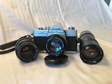 Minolta SR-T 100 35mm Film Camera MC Rokkor-PF Elicar Wide Lentar Zoom Lens Case
