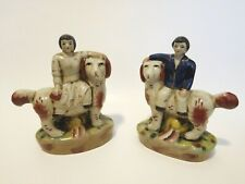 English Staffordshire Style Man and Woman on Dogs Figurines Boy Girl