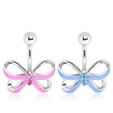 Enamel Ribbon Bow Belly Navel Bar - 10mm - Body Jewellery