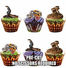 12 PRE-CUT Rattle Snakes Edible Cup Cake Toppers Decorations Birthday Halloween