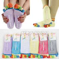 Fashion Women 5-Toe Colorful Yoga Gym Non Slip Massage Toe Socks Full Grip Socks