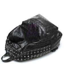 New PU Leather Punk Skull Rivet Bag Preppy Style Backpack Shoulders Bag Black