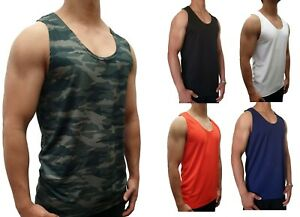 MENS SINGLET POLYESTER QUICK DRY SIZE M - XXXL MUSCLE TANK BODYBUILDING GYM