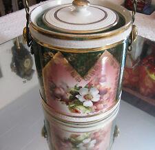 ANTIQUE VICTORIAN FLORAL BOUQUET GILT PORCELAIN BISCUIT BARREL/ COOKIE JAR