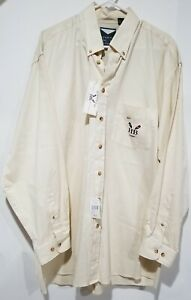 NWT Harbor Bay Men XLT Long Sleeve Button Down Tan Cream Shirt