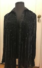 Stenay All Black 90s Vintage Beautiful Sequins Beaded Sheer Blouse. Size Xl