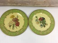 """Baret Ware Plates 2x Floral Metal 1952 England Carnations Anemones 10"""" Shabby"""