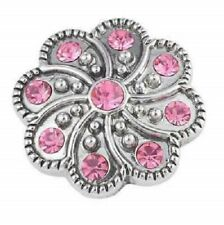 3D Rhinestone Pink Crystal Charm Button Fit For Noosa Bracelets JoMacDesigns