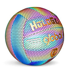 HoloGear Lightweight Reflective Holographic Leather Volleyball, Multicolor Glow