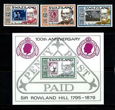 Swaziland - Rowland Hill 100th Anniversary Set & Souvenir Sheet MNH