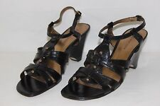 AK Anne Klein Womens Size 8 M Black Open Toe Strappy High Heels Shoes NEW NICE