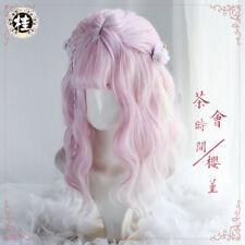 Harajuku Natural Curly Hair Sakura Pink Gradient White Lolita Princess Sweet Wig