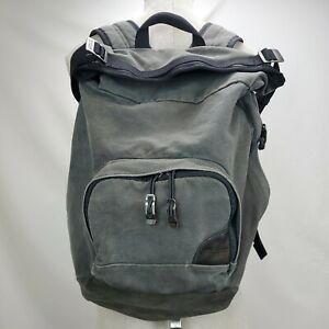 Overland Equipment Canvas Leather Bottom Backpack Hiking Daypack Bag Gray