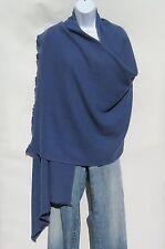 100% Cashmere Shawl/Wrap 4 Ply Hand Loomed Nepal Mini Herringbone Lead Blue