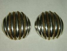 Brass Large Round Clip-On Earrings Vintage Laton Taxco Mexico Sterling Silver
