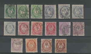 Norway 1871- 1875 Skilling Posthorns with shades , 16 stamps