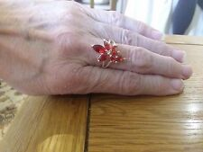 BRAND NEW  RUBY CLUSTER  LOOK SILVER RING SIZE N + GIFT BOX