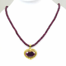 "Natural Ruby Beads Necklace 17"" 925 Silver Heart Shape Ruby Pendant Sz 1.25"""