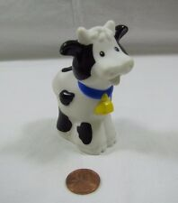 Fisher Price Little People COW w/ BELL White & Black ~ Farm Zoo Nativity Rare!